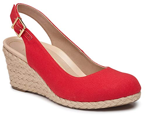 Vionic Women's Aruba Coralina Slingback Wedge - Espadrille Wedges with Concealed Orthotic Arch Support Cherry 9.5 M - Concealed Wedge
