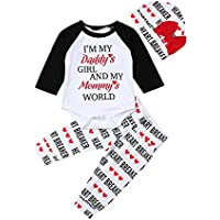Fiomva Newborn Infant Baby Girl Clothes Outfit Daddy's Girl Bodysuit Romper Pants Trousers Hat Set