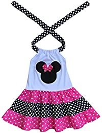 Minnie Mouse Hot Pink Black Polka Dot Girl Tiered Dress- Minnie Mouse bIrthday Party Girl