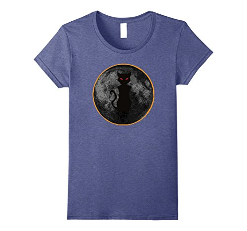[Womens Halloween Solar Eclipse Moon With Evil Creepy Cat Shirt Small Heather Blue] (Mean Girl Halloween Costume Quote)