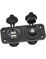 Schimer QC 3.0 USB-stopcontact auto 12 V/24 V, Quick Charge 3.0 autolader inbouwbus waterdicht sigarettenaansteker USB-aansluiting auto-adapter voor tuimelschakelaar paneel op motorfiets boot vrachtwagen caravan ATV