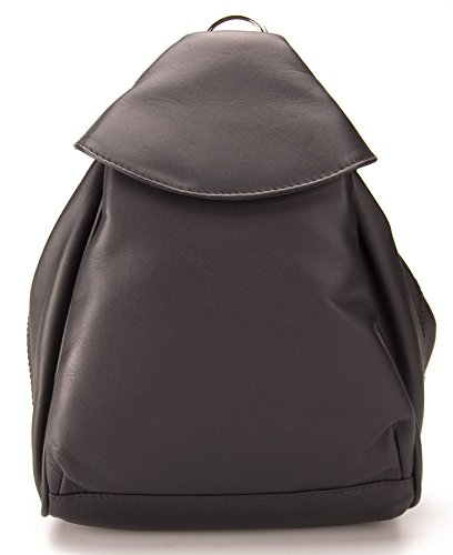 Visconti Single Front With Leather Rucksack Black Pocket Bag Zip Abbie 01721 xxRZ17