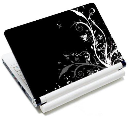 MySleeveDesign Notebook Skin Aufkleber Folie Sticker für Geräte der Größe 10,2 Zoll / 11,6 - 12,1 Zoll / 13,3 Zoll / 14 Zoll / 15,4 - 15,6 Zoll mit VERSCH. DESIGNS - Flowers White