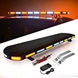 Amber White Emergency Strobe Light Bar, YITAMOTOR 48 inch 120-LED Emergency Warning Security Low Profile Roof Top Mount LED Light Bar for Tow Truck Construction Vehicles