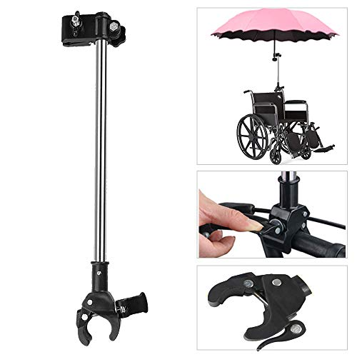 Umbrella Mount Holder, Adjustable Umbrella Mount Stand No Need Wrench to Attach/Detach Umbrella Clamp for Wheelchairs, Walker, Rollator, Camera