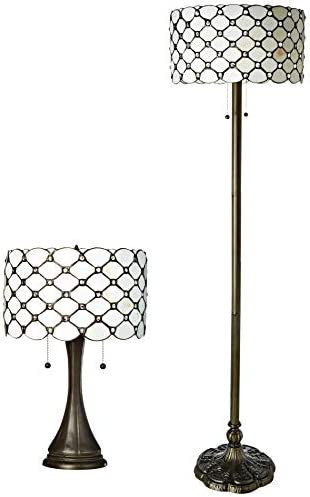 Serena d'italia Tiffany Style Floor and Table Lamp Set