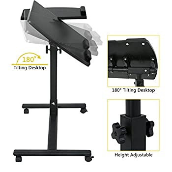 Super Deal Angle & Height Adjustable Rolling Table Desk Laptop Notebook Stand Tiltable Tabletop Desk Sofa/bed Side Table Hospital Table Stand W/ Lockable Casters