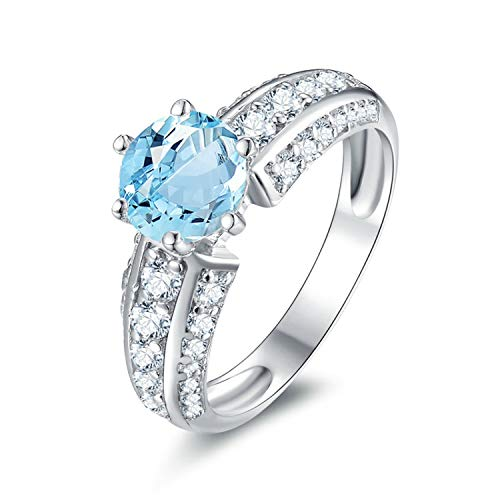 AMDXD Jewellery 925 Sterling Silver Wedding Band for Women Blue Round Cut Topaz Round Shape Rings Size 4