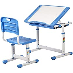 BestMassage Children Desk Kids Study Child School Adjustable Height Children's Table Chair Set with Storage for Kids-Blue