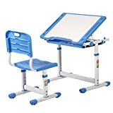 BestMassage Children Desk Kids Study Child School Adjustable Height Children's Table Chair Set with Storage for Kids-Blue For Sale