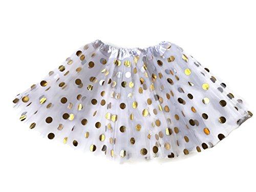 Rush Dance Ballerina Girls Dress-Up Princess Fairy Polka Dots & Ribbon Tutu (Kids (3-6 Years Old), White & Gold Dots) (With Dots Polka Gold White)