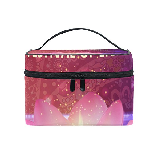 Portable Travel Makeup Cosmetic Bag Happy Diwali Durable Toiletry Organizer Train Case for Women Girls by My Little Nest