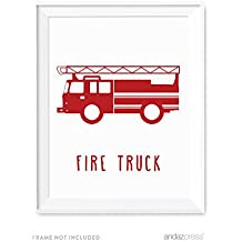 Andaz Press Nursery Kids Room Wall Art Poster, Transportation Collection, Firetruck, 1-Pack, Sign Decorations and Party Decor, Unframed
