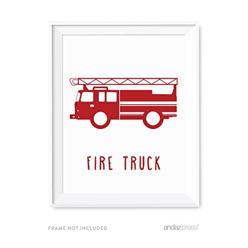 Andaz Press Nursery Kids Room Wall Art Poster, Transportation Collection, Firetruck, 1-Pack, Sign Decorations and Party Decor, Unframed (Flat Poster Collection)
