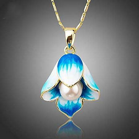 WDXDP Collar Color Oro Nueva Cadena de eslabones Largos Pintura al óleo Patrón Flor de Perla Collares Pendientes para Mujeres