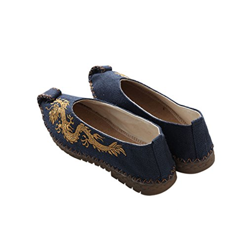 Haodasi Männer Dragon Leinen Slip-on Boot Schuhe Flache Chinesische Schuhe Hausschuhe Rutschfest Blau