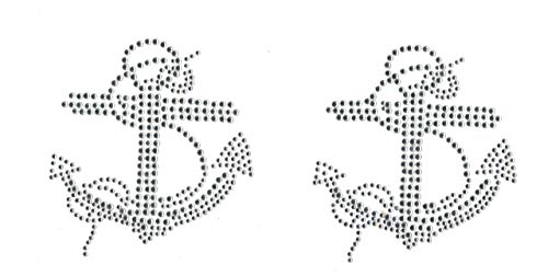 Set of 2 Anchor Iron On Rhinestone Clear Hotfix Transfer - Anchor On Iron Transfers