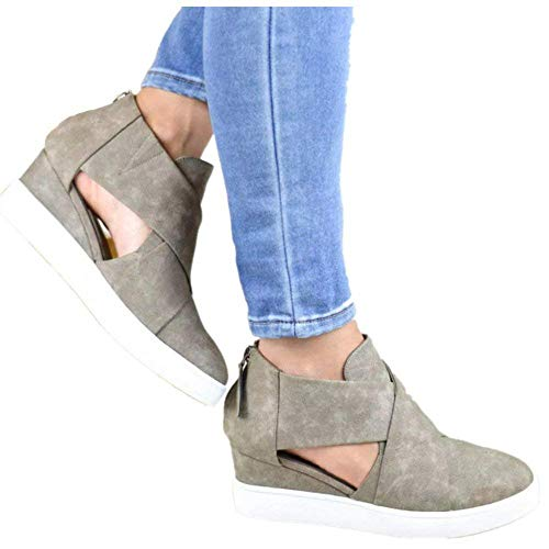 - Ermonn Womens Fashion Platform Sneakers Cut Out Cross Strappy Back Zipper Wedge Booties