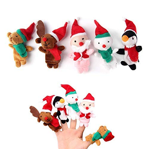 JZH Christmas Santa Claus Deers Snowman Finger Puppets Soft Plush Dolls Baby Educational Props Storytelling Toys