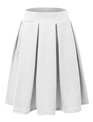 Doublju Elastic Waist Flare Pleated Skater Midi Skirt (Plus size available) IVORY (Ivory Pleated Skirt)