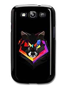 AMAF ? Accessories Abstract Colour Wolf With Black Background Illustration case for Samsung Galaxy S3