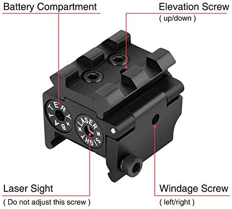 Details about  /Mini Adjustable Compact Red Dot Sight//Laser Scope For Pistol Gun 20mm Rail Mount