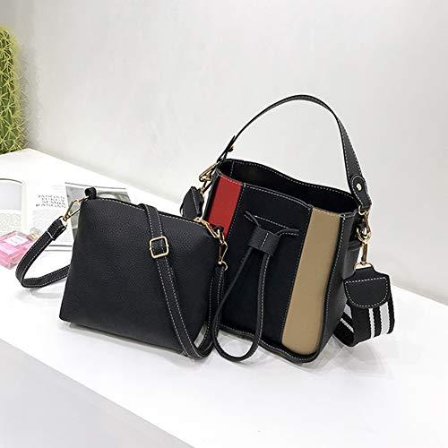 caffè tessuto Tote monospalla a verde borsa sacchetto secchiello glassy colori diagonale nero S PU Nero Croce marrone Charma 86qwfS