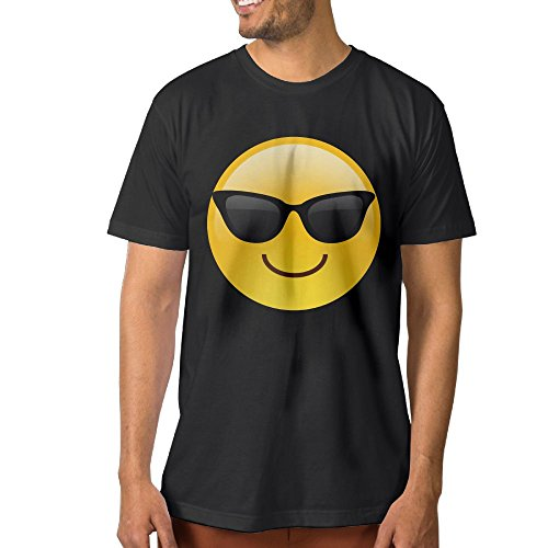 ZhiqianDF Men's Smiling Face With Sunglasses Cool Emoji Leisure Sports Black Tee 6XL Short - Orton Sunglasses Randy