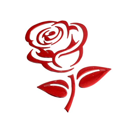 xxiaoTHAWxe Fashion Rose Flower Car Vehicle Light Lamp Brow Decor Rearview Mirror Sticker - Rose Red