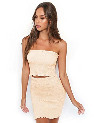 Didala Womens Sexy 2 Pièces Paquet Brassière Bustier Robe Hanche Mini Robe Robe Beige Clubwear Mis