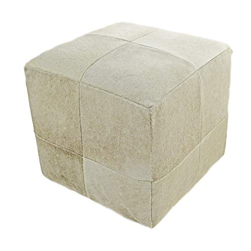 """In the Garden and More Champagne Beige Cowhide Cube Pouf Stool Ottoman 18"""" X 18"""" from In the Garden and More"""
