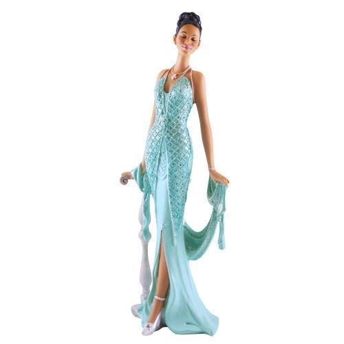 African American Expressions - Grace Teal Dress Figurine - Glamour Series (5.5