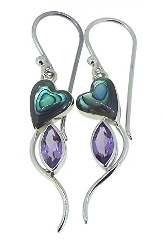 Amethyst Abalone Earrings Paua Shell 925 Sterling Silver Hearts Violet Hook