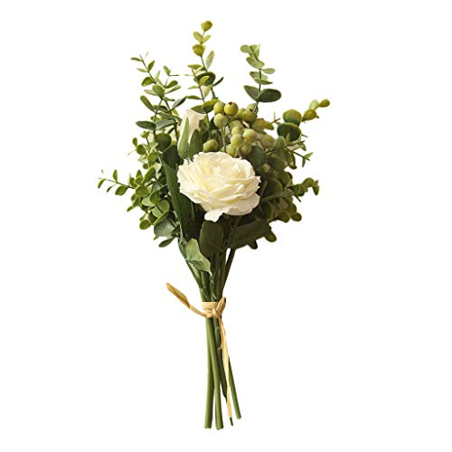 Mikilon 3 Heads 1 Blooming 2 Buds Artificial Flowers Rose Bouquet with Eucalyptus Wedding Home Office Decor, Pack of 1 (White)