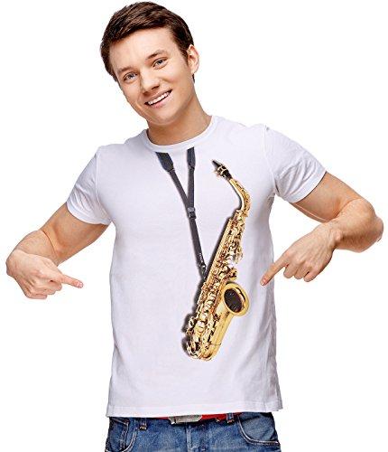- Retreez Classic Alto Saxophone Alto Sax Music Graphic Printed Unisex Men/Boys/Women T-Shirt Tee - White - X-Small