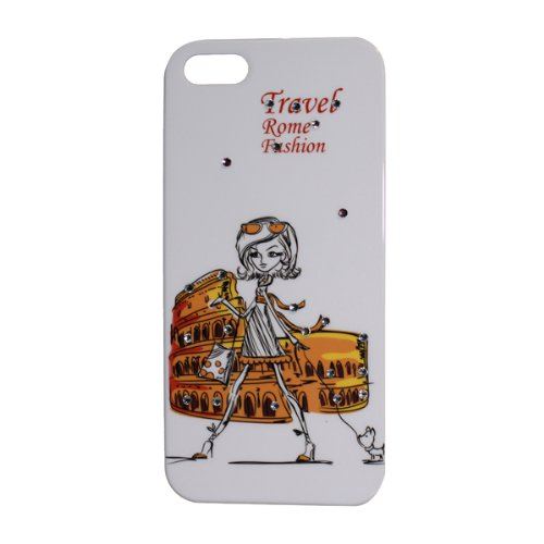 Nccypo Travel Rome Fashion Colosseum and Fashion Girl Bling Rhinestone Diamond Hard Back Cover Case Compatible for iphone 5/ 5S, Include Screen Protectors, Stylus and Cleaning Cloth