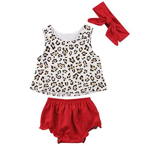 (Fashion New Newborn Flower Baby Girls Tops Leopard+Tutu Dress Pant Headband Outfits Clothes 6M)