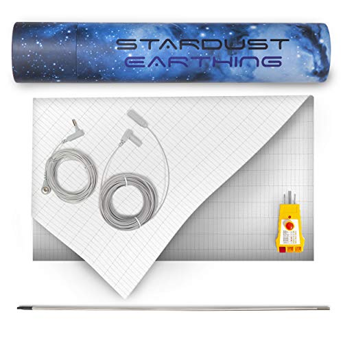 Grounding Fitted QUEEN-size sheet for Earthing with Grounding Cord - 400TC Pure Silver-thread Sheet with Extras! Grounding Rod & Outlet Checker for Better Sleep, Health & Natural Energy (Fitted Queen)