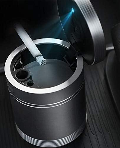 5ALL Auto Aschenbecher KFZ Rauchende Zigarette Auto-Aschenbecher f/ür Getr/änkehalter Multifunktionaler Edelstahl Metall Sturmaschenbecher mit Deckel und Blauer LED-Licht