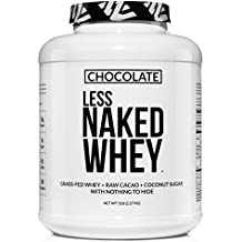 Less Naked Whey Chocolate Protein - All Natural Grass Fed Whey Protein Powder, Organic Chocolate, and Coconut Sugar 5lb Bulk, GMO Free, Soy Free, Gluten Free Aid Muscle Growth and Recovery 60 Servings