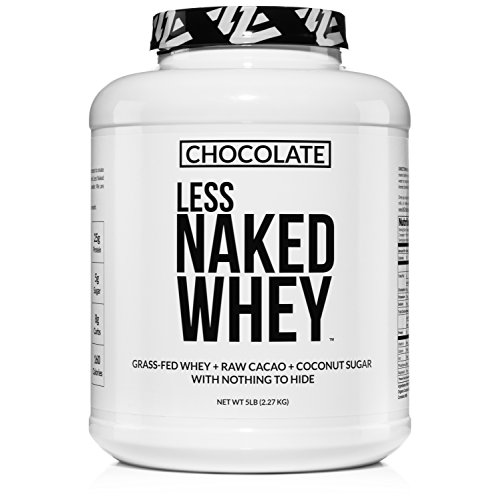 Less Naked Whey Chocolate Protein - All Natural Grass Fed Whey Protein Powder, Organic Chocolate, and Coconut Sugar 5lb Bulk, GMO Free, Soy Free, Gluten Free Aid Muscle Growth and Recovery 60 Servings (Organic Grass Fed Whey Protein)