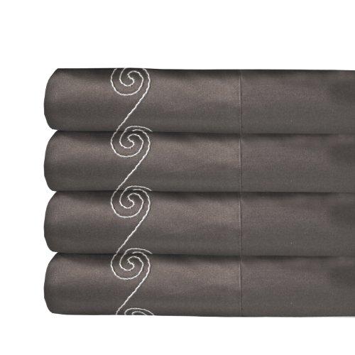 MADE IN THE USA 800TC 100% Cotton Sateen Swirl Pillowcase Pair, King, Espresso By Veratex (Pillow Case Espresso compare prices)