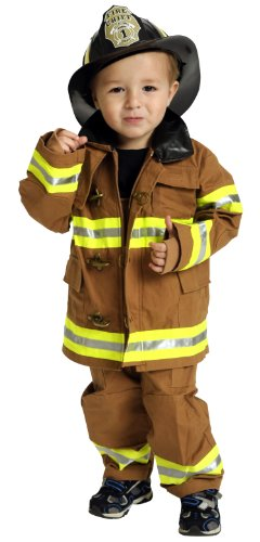 Jr. Fire Fighter Suit with helmet, size 6/8 (tan) (Firefighter Kids)