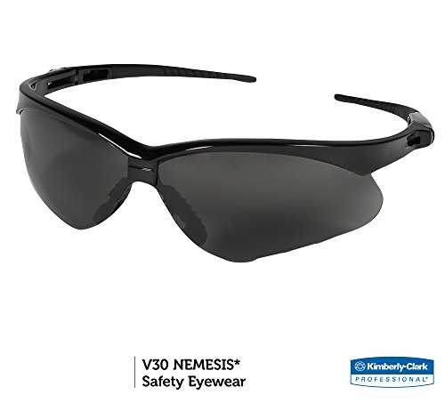 Jackson Safety V30 Nemesis Safety Glasses (22475), Smoke Anti-Fog Lens with Black Frame, 12 Pairs / Case