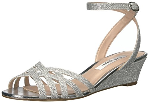 Metallic Heels Nina (NINA Women's Faria Wedge Sandal, Yf-Silver, 7.5 M US)