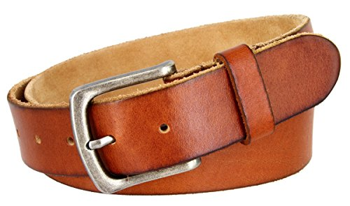 Full Grain Classic Oil-tanned Genuine Leather Casual Jean Belt (Tan, 34) (Brown Oil Tan Leather)