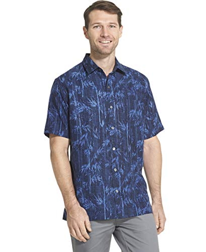 Van Heusen Men's Big and Tall Air Tropical Short Sleeve Button Down Poly Rayon Shirt, blue Underground, 2X-Large Tall