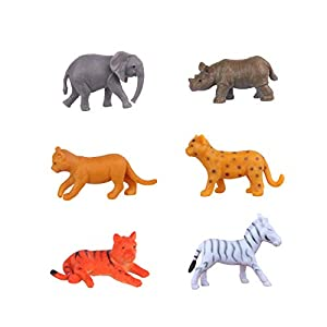 Baby Animal Figures (6 PCs) Elephant Rhino Calf Zebra Foal Tiger Leopard Lion Figurines Cupcake Topper Decoration Reward Gift for Boy Girl Party Favors Supply Cake Decoration for Animal Themed Party