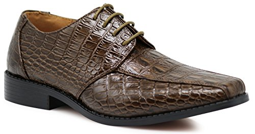 Gator3N Men's Alligator Crocodile Print Oxfords Fashion Lace Up Dress Shoes (9.5 D(M) US, Brown)