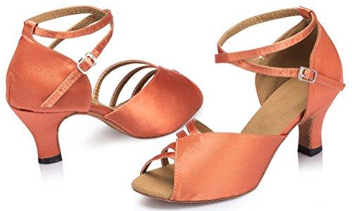 Ballroom Salabobo Heel Shoes Toe cha Dance Mid Peep Cha Latin Wedding L122 Satin Pink YYM Party Womens IUqrIx7